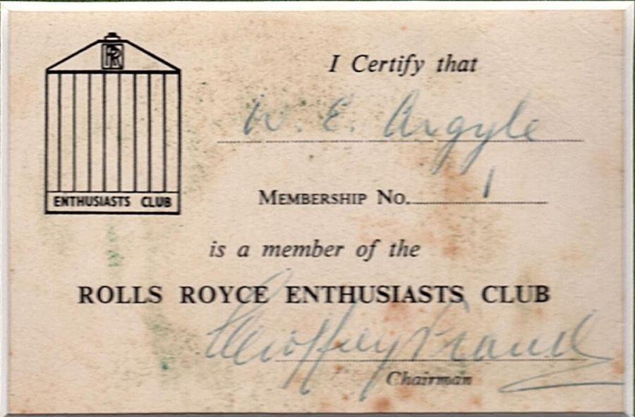 Original RREC Membership Card